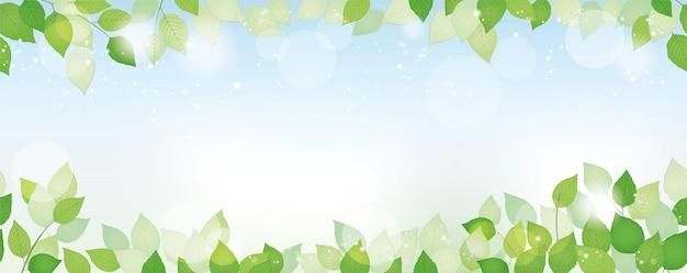 Naadloze aquarel verse groene achtergrond met tekst ruimte, vectorillustratie. milieubewust imago met planten, blauwe lucht en zonlicht. horizontaal herhaalbaar.