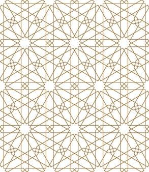 Naadloze arabische geometrische sieraad in bruine kleur. dunne lijnen.