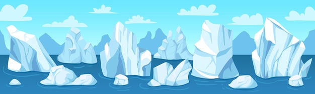 Naadloze arctische landschapsbanner