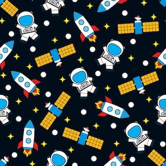 Naadloze avontuurlijke ruimte vector patroon achtergrond