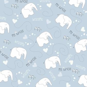 Naadloze baby olifant patroon Premium Vector