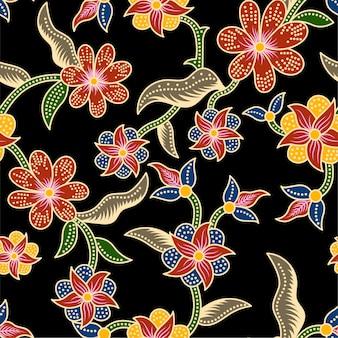Naadloze batik bloemmotief achtergrond