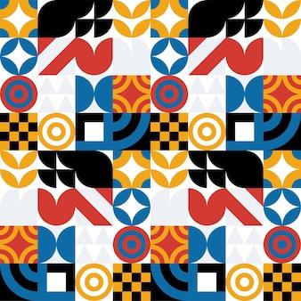 Naadloze bauhaus abstract vector achtergrond. retro geometrische patroon. eenvoudige vormen mozaïek.
