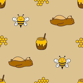 Naadloze beer en bijen vector patroon achtergrond