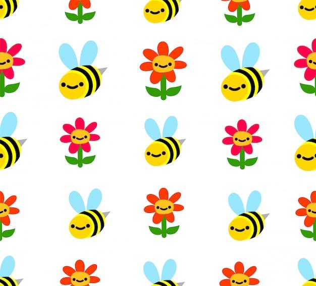Naadloze bijen en bloemenpatroon