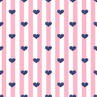 Naadloze blauwe hart glitter patroon op roze streep achtergrond
