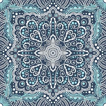 Naadloze blauwe patroon van spiralen, wervelingen, kettingen op een zwarte achtergrond