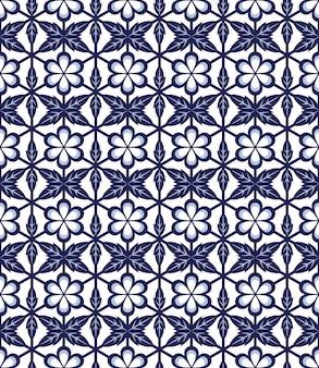 Naadloze blauwe ronde bloem blad cross veelhoek patroon
