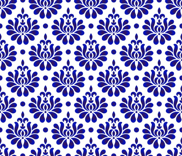 Naadloze bloem damast patroon