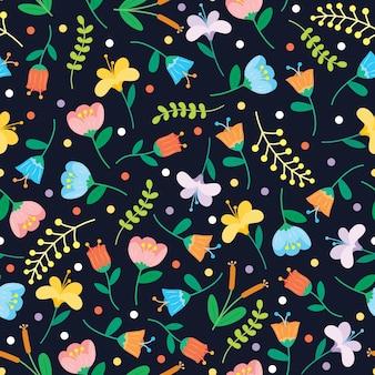 Naadloze bloem en polka dots vector patroon achtergrond