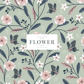 Naadloze bloemen en vlinderspatronen