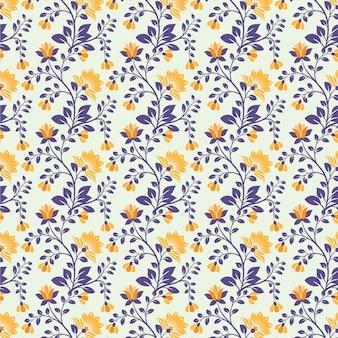 Naadloze bloemenpatroon abstracte bloemen en bladeren blauwe en oranje kleur