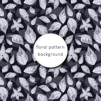 Naadloze bloemenpatroonachtergrond met hand getrokken bladeren