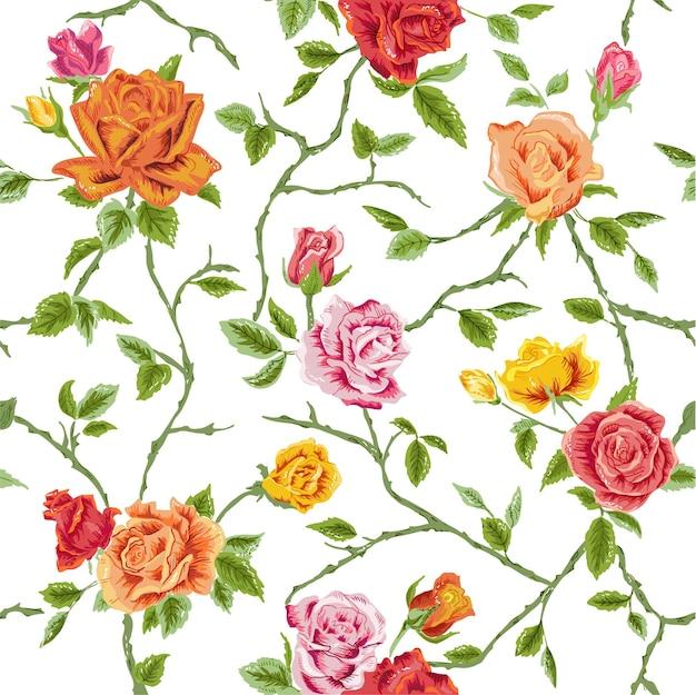 Naadloze bloemenrozenachtergrond