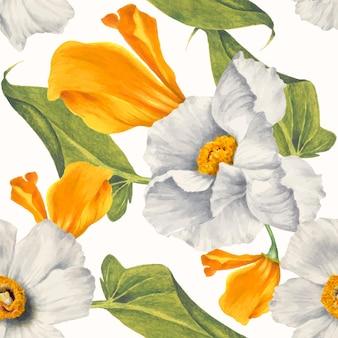 Naadloze bloemmotief achtergrondillustratie, geremixt van kunstwerken uit het publieke domein