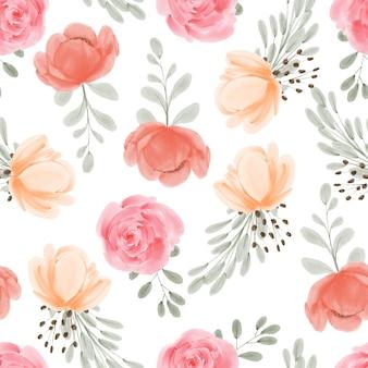 Naadloze bloemmotief aquarel hand beschilderd met roze pioenroos bloem