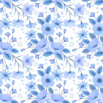 Naadloze bloemmotief blauw zwart-wit
