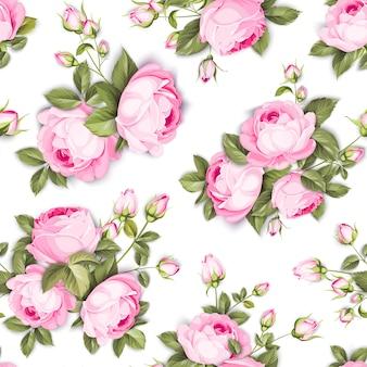 Naadloze bloemmotief. bloeiende rozen op witte achtergrond.