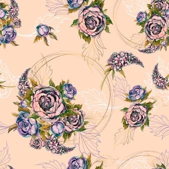 Naadloze bloemmotief boeket rozen pioenrozen en seringen.