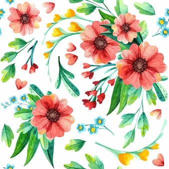 Naadloze bloemmotief, botanische aquarel.
