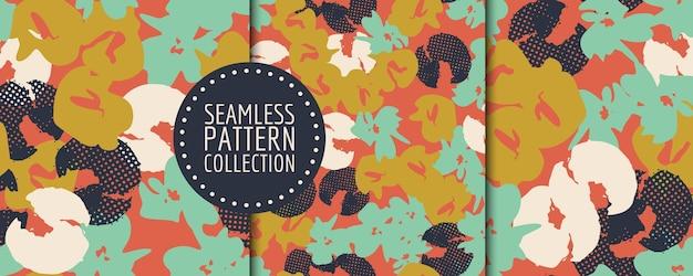 Naadloze bloemmotief collectie. vectorontwerp voor papier, stof, interieur en omslag