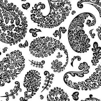 Naadloze bloemmotief, gebladerte en leafage van planten. achtergrond of print met exotische en tropische plantkunde. bloeiende takken, monochrome kleurloze bladeren en bloei, vector in vlakke stijl