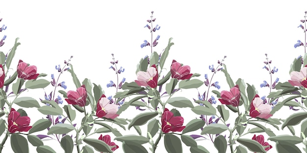 Naadloze bloemmotief, grens. groen blad, paarse salie, roze en kastanjebruine bloemen. weide bloemen en kruiden geïsoleerd op een witte achtergrond.
