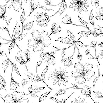 Naadloze bloemmotief. hand getekend inkt illustratie in lijn kunststijl.