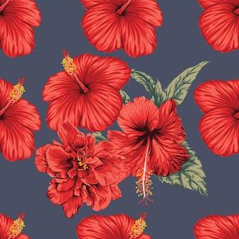 Naadloze bloemmotief hibiscus bloemen achtergrond.