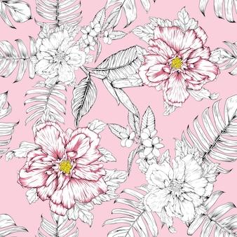 Naadloze bloemmotief hibiscus en frangipani bloemen achtergrond.