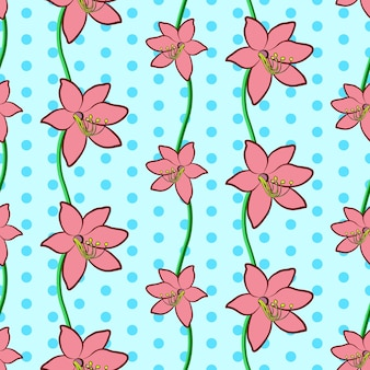 Naadloze bloemmotief in vintage stijl mooie roze lelie bloemen op blauwe gestippelde achtergrond