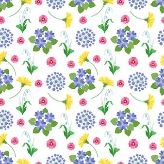 Naadloze bloemmotief. lente en zomer tuin bloemen botanische romantische print vintage textuur