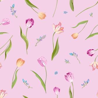 Naadloze bloemmotief met aquarel tulpen Premium Vector