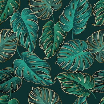 Naadloze bloemmotief met bladeren tropische achtergrond gouden omtrek