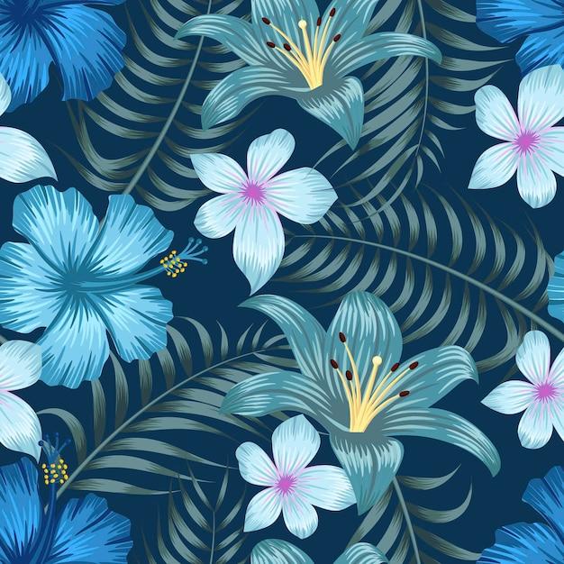 Naadloze bloemmotief met bladeren tropische achtergrond