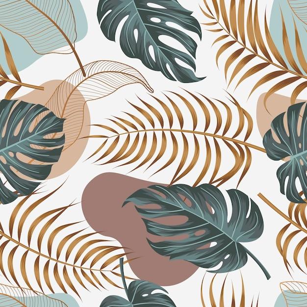Naadloze bloemmotief met bladeren tropische achtergrond Premium Vector