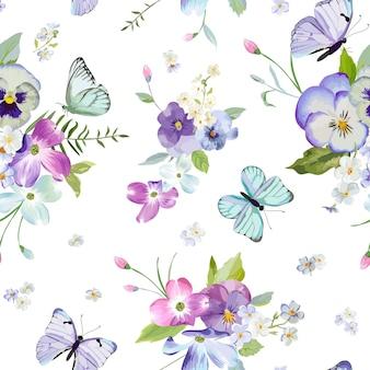 Naadloze bloemmotief met bloeiende bloemen en vliegende vlinders