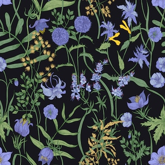 Naadloze bloemmotief met bloeiende kruidachtige planten en wilde bloemen