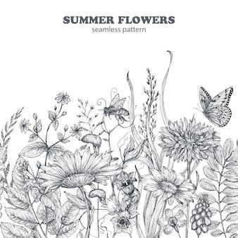 Naadloze bloemmotief met de hand getekende papaver bloemen en bladeren. monochroom vectorillustratie in schets stijl.