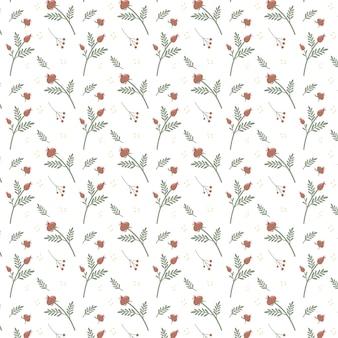 Naadloze bloemmotief met dogrose en rozenbottel vector illustratie eenvoudige achtergrond van bloemen