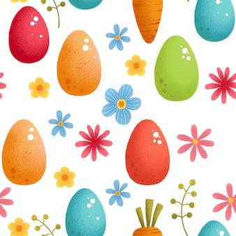 Naadloze bloemmotief met eieren, vogels en gestileerde bloemen.