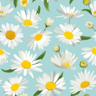 Naadloze bloemmotief met kamille bloemen. natuurlijke achtergrond met madeliefjebloemen voor lente zomer ontwerp behang, decoratie, print. vector illustratie