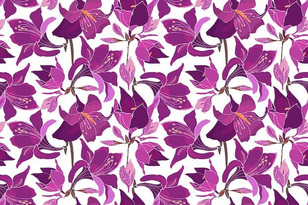 Naadloze bloemmotief met lelies, amaryllis, belladonna lelie,