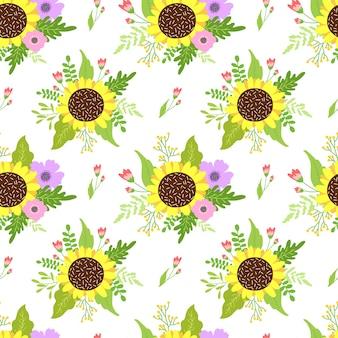 Naadloze bloemmotief met lentebloemen.