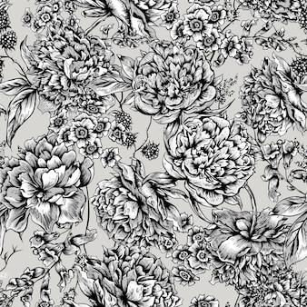 Naadloze bloemmotief met pioenrozen in vintage stijl