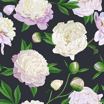 Naadloze bloemmotief met pioenrozen
