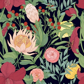 Naadloze bloemmotief met prachtige wilde bloeiende bloemen en kruiden hand getekend op zwart