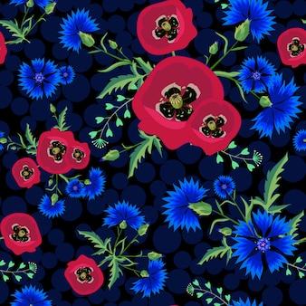 Naadloze bloemmotief met rode papavers en blauwe korenbloemen.