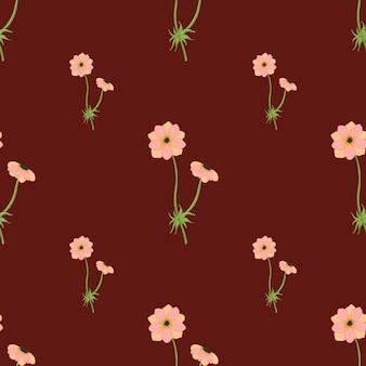 Naadloze bloemmotief met roze eenvoudige anemoon takken sieraad. donkere kastanjebruine achtergrond. minimalistische print. voorraad illustratie. vectorontwerp voor textiel, stof, cadeaupapier, behang.