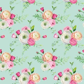 Naadloze bloemmotief met roze rozen en ranunculus bloemen. botanische achtergrond voor stof textiel, behang en decor. vector illustratie